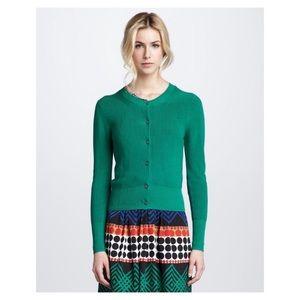 Trina Turk cotton blend green cardigan size M